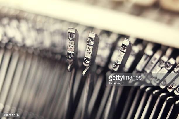 Antique typewriter detail macro