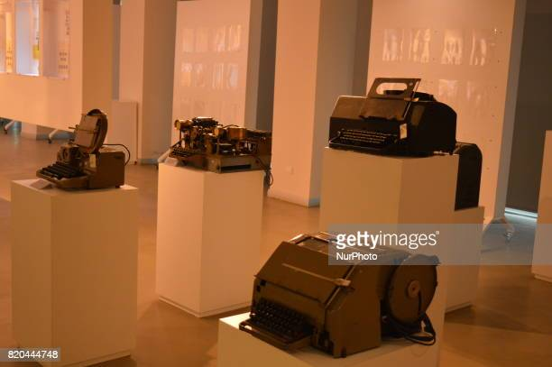 Antique typewriters are seen at the PTT Stamp Museum in Ankara Turkey on July 21 2017
