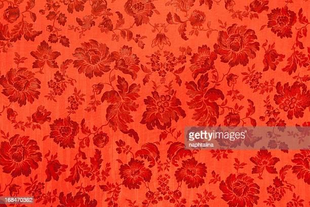 Antique velvet wall, Red flower texture