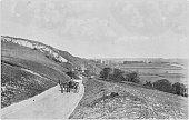 Antique vintage black and white photo: British countryside