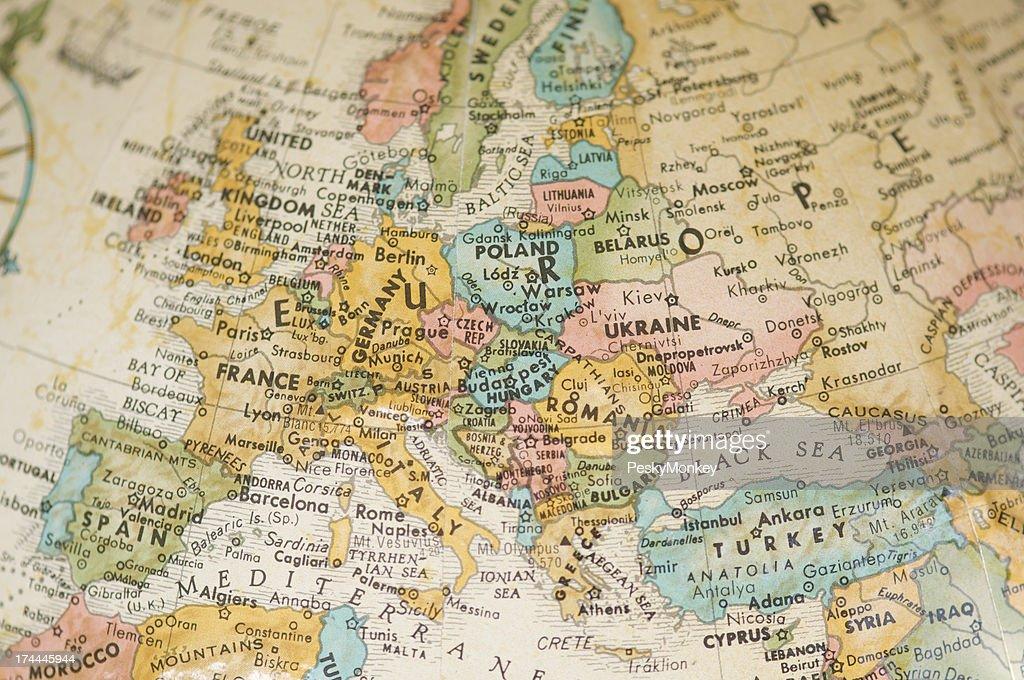 Alte Vintage Karte von Europa geringe Tiefenschärfe Sepia : Stock-Foto