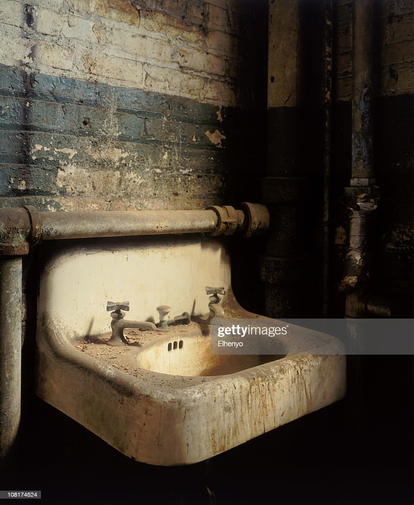 Antique Wash Basin Sink In Dirty Factory : Stock Photo
