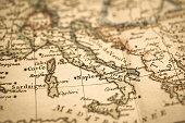 Antique world map Mediterranean