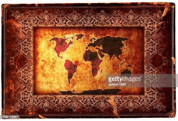 Antique World Map with Decorative Border