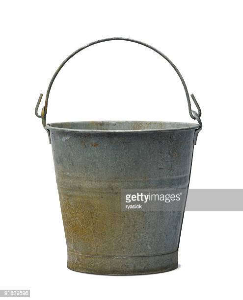 Antique Zinc Water Pail Bucket Isolated with Clipping Path