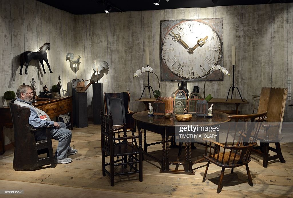 Antiques on display during a press preview of the 59th annual 'Winter Antiques Show' January 24, 2013 at the Park Avenue Armory in New York . The show which runs through February 3, 2013 features over 70 exhibitors and benefits the East Side House Settlement in the Bronx.