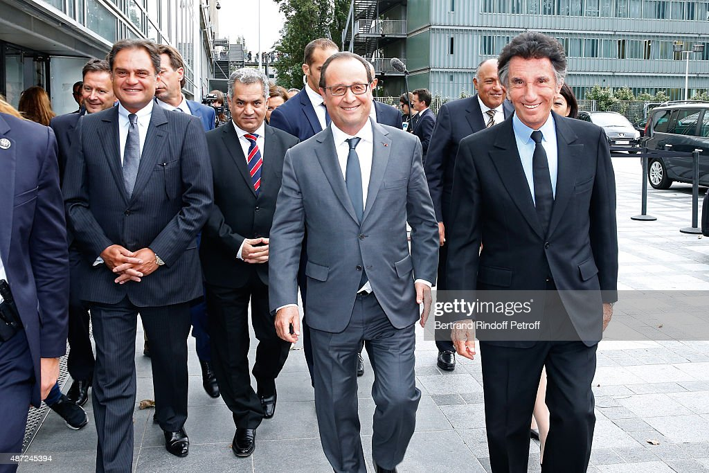 Antiquities Minister of Egypt Mamdouh el-Damaty, President of the French Republic Francois Hollande and President of the 'Institut du Monde Arabe' <a gi-track='captionPersonalityLinkClicked' href=/galleries/search?phrase=Jack+Lang&family=editorial&specificpeople=220296 ng-click='$event.stopPropagation()'>Jack Lang</a> attend the Inauguration of the 'Osiris, Mysteres Engloutis d'Egypte' at Institut du Monde Arabe, by the President of the French Republic Francois Hollande. On September 7, 2015 in Paris, France.