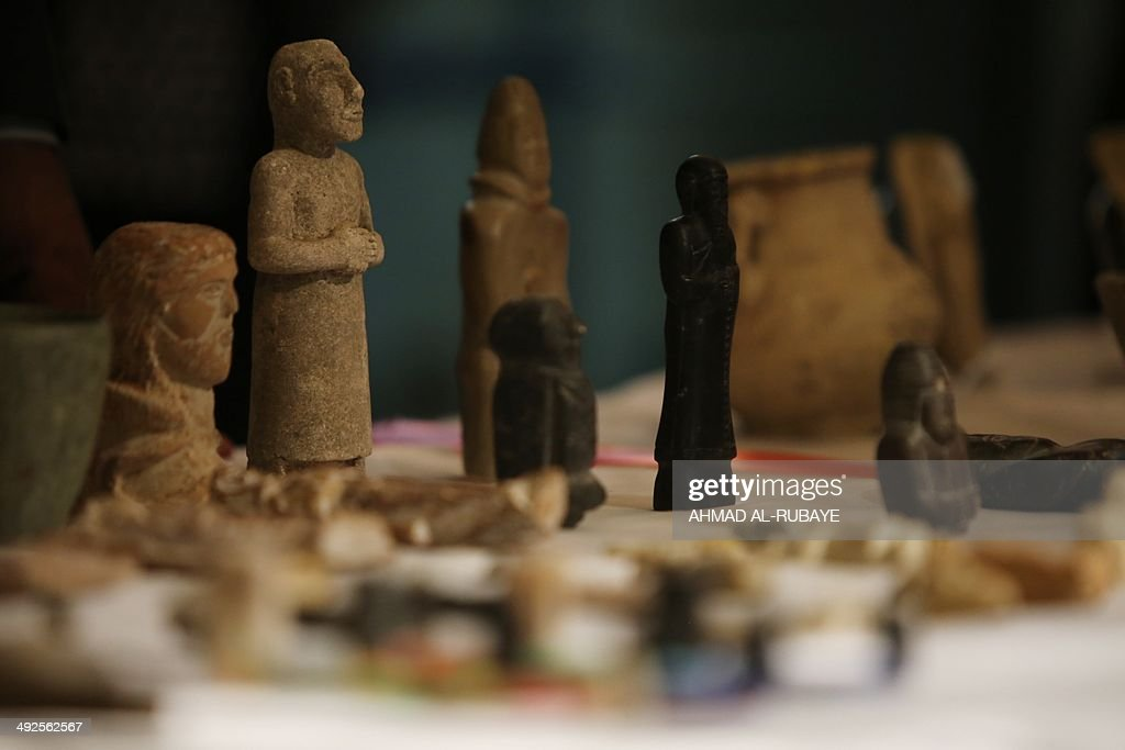 Antiquities which were stolen from the Iraqi National Museum during the US intervention in Iraq in 2003 are displayed during a presentation in Baghad...