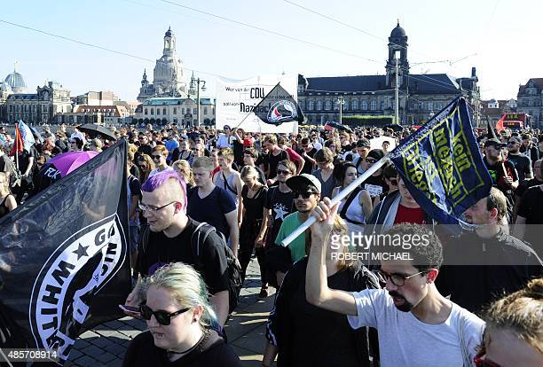 Antiracism protesters take part in a rally on August 29 2015 in Dresdeneastern Germany stronghold of the antiIslam PEGIDA movement whose...