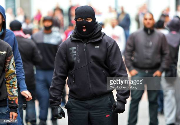 Antiright wing youths taunt members of the English Defence League during a rally on September 5 2009 in Birmingham England The English Defence League...