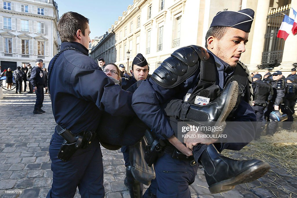 Anti-riot police evacuate demonstrators who protested of the French farmers union 'Confederation Paysanne' in front of the French National Assembly, on January 16, 2013 in Paris, against breeding conditions in France. They denounced the increasing prices of basic products for the cattle.