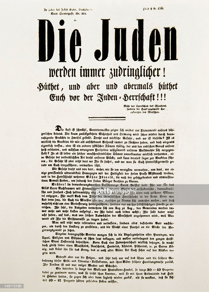 AntiSemitic flyer 'Jews are getting more and more importunante' Around 1890