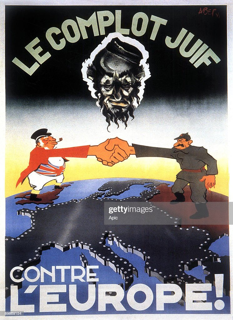 AntiSemitic propaganda poster about jewish plot gainst Europe 1942