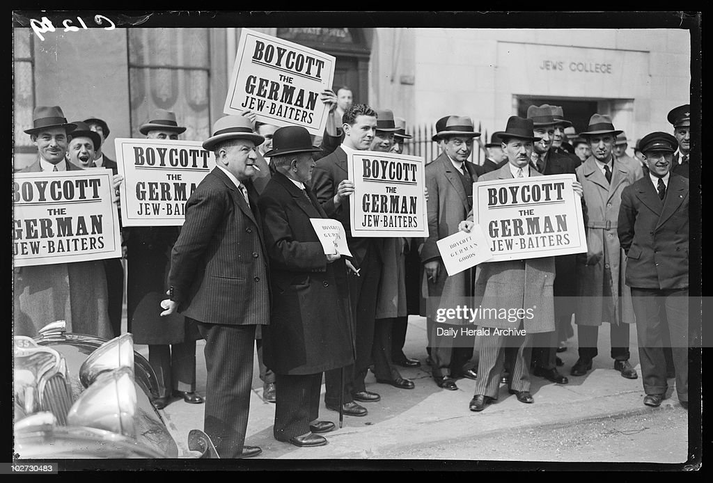 Antisemitism protest 1933 A photograph of Jewish protestors outside Woburn House in Bloomsbury London taken by Woodbine for the Daily Herald...