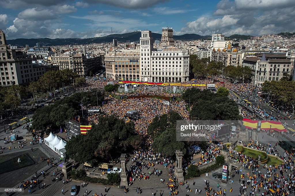 Antiseparatist Catalans gather in Plaza Catalunya square during a demonstration on October 12 2014 in Barcelona Spain According to the Barcelona...