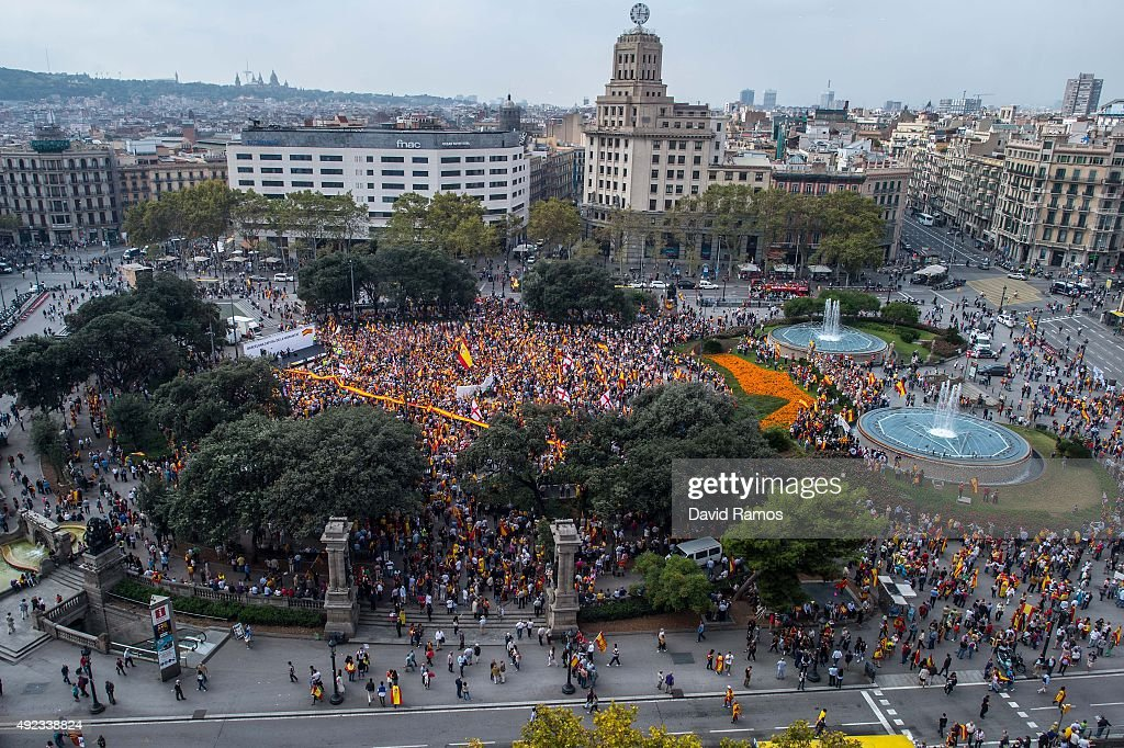Antiseparatist Catalans gather in Plaza Catalunya square during a demonstration on October 12 2015 in Barcelona Spain Thousands of Antiseparatist...
