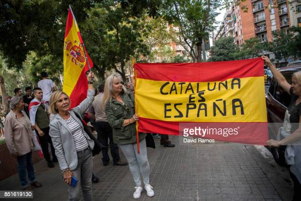 Antiseparatist supporters gather during a demonstration called by Spanish far right groups on September 22 2017 in Barcelona Spain ProIndependence...