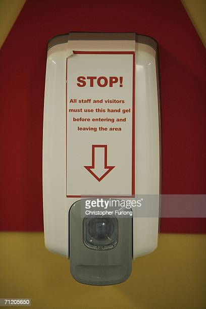 Antiseptic hand lotion dispensers are now at the entry and exit of many hospital wards and departments to aid the fight against infection on June 14...