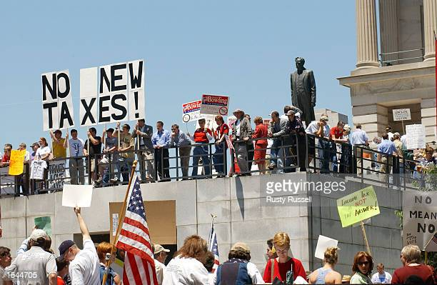 Antitax demonstrators protest against proposed legislation that would impose a Tennessee income tax May 22 2002 at the Tennessee State Capitol in...
