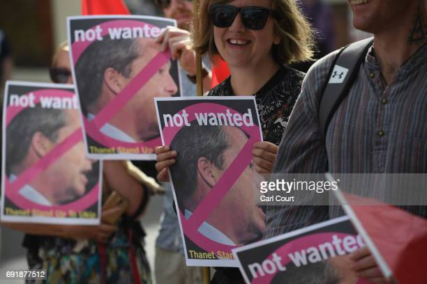 AntiUKIP protesters demostrate outside a UKIP meeting ahead of a visit by Nigel Farage as he campaigns ahead of the general election on June 3 2017...