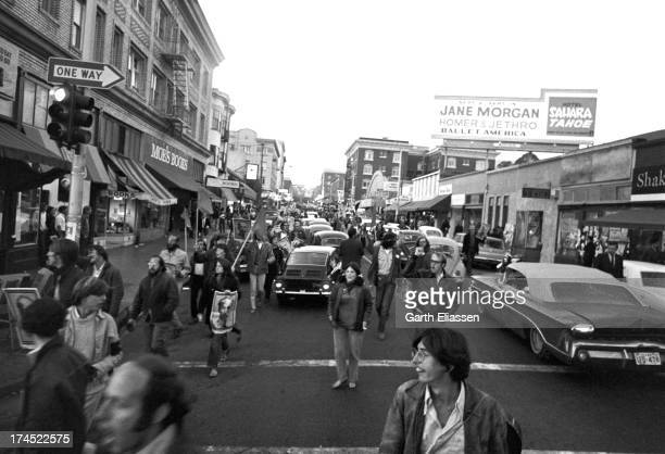 AntiVietnam War demonstrators march on Telegraph Avenue as they carry posters of President of North Vietnam Ho Chi Minh during a rally Berkeley...