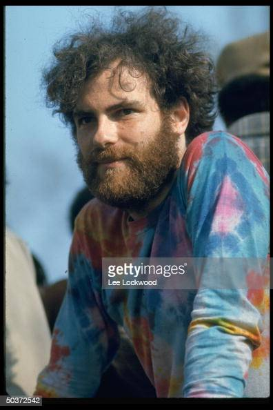 Antiwar activist Jerry Rubin appearing on behalf of Black Panthers at Yale University May Day student strike
