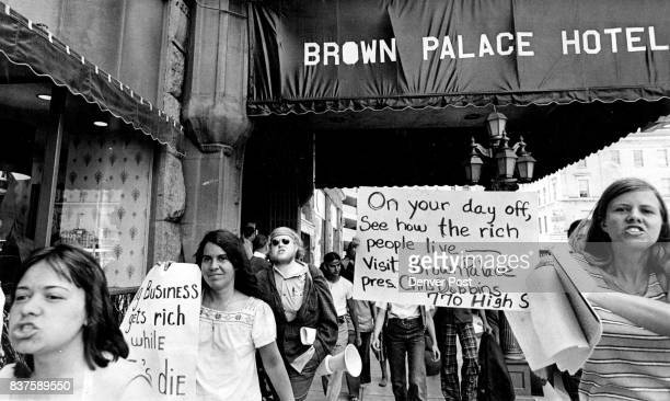 Antiwar Demonstrators Gathered at the Brown Palace Hotel Saturday and Picketed for 15 minutes The group no more than 100 included 31 persons who...