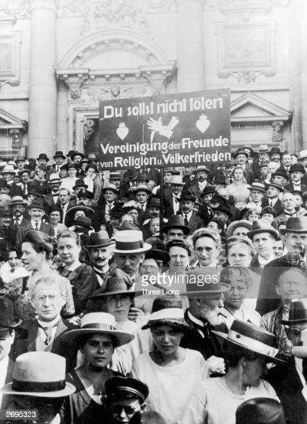 Antiwar feelings were running high in Germany following their defeat in World War I Demonstrators for the Association of Friends of Religion and...
