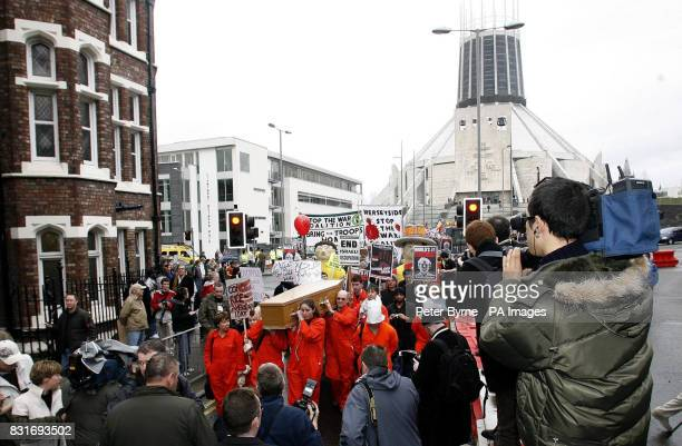 Antiwar protestors in Liverpool Friday March 31 ahead of the visit of US Secretary of State Condoleezza Rice Ms Rice is visiting the United Kingdom...