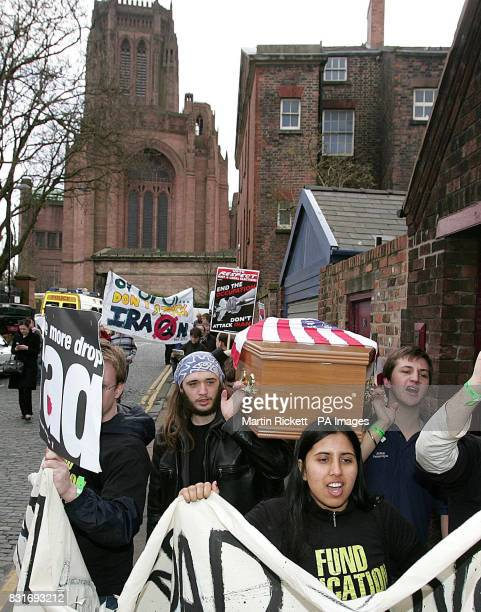 Antiwar protestors outside the Liverpool Institute for Performing Arts Friday March 31 2006 ahead of the visit of US Secretary of State Condoleezza...