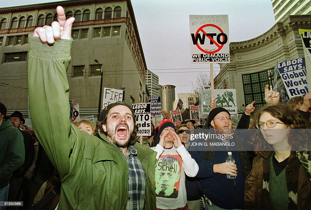 AntiWTO protesters scream at Seattle Police during a peaceful protest march with Labor workers 03 December in Seattle Washington Violent antiWorld...