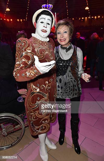 AntjeKatrin Kuehnemann with a clown during the premiere of the Circus Krone program 'Circus der Preistraeger' at Circus Krone on February 2 2016 in...