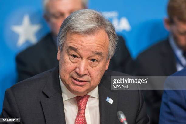 António Guterres UN Secretary General attends the London Conference on Somalia at Lancaster House on May 11 2017 in London England