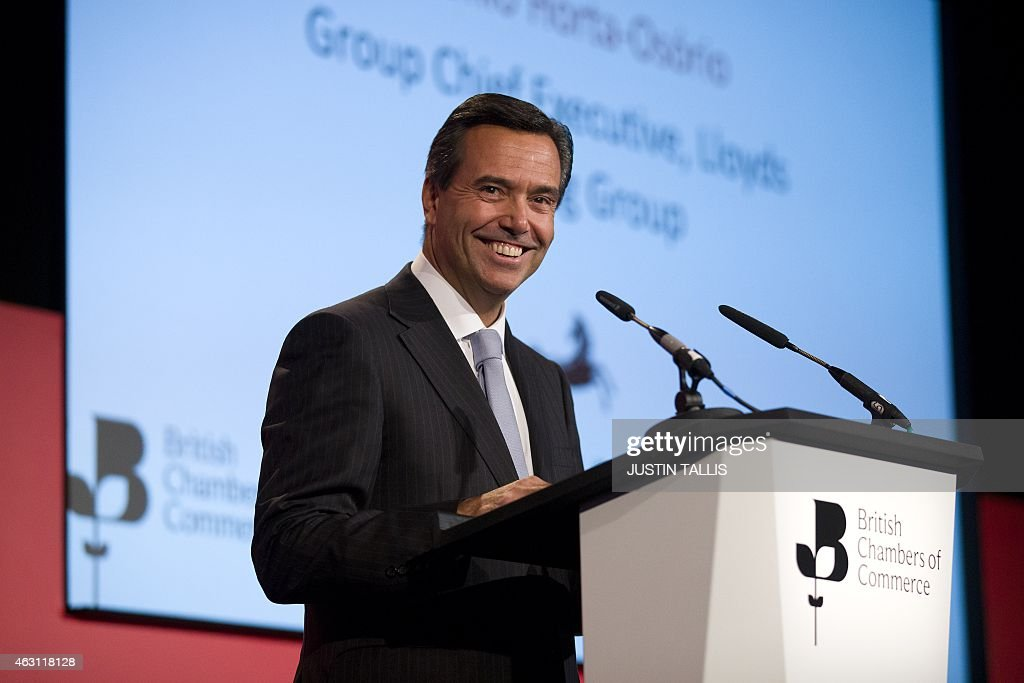 António Horta Osório, Group Chief Executive (CEO) of Lloyds Banking Group, addresses delegates at the British Chambers of Commerce in central London on February 10, 2015. AFP PHOTO / JUSTIN TALLIS