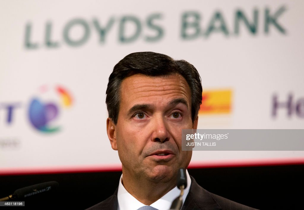 António Horta Osório, Group Chief Executive (CEO) of Lloyds Banking Group, addresses delegates at the British Chambers of Commerce in central London on February 10, 2015.