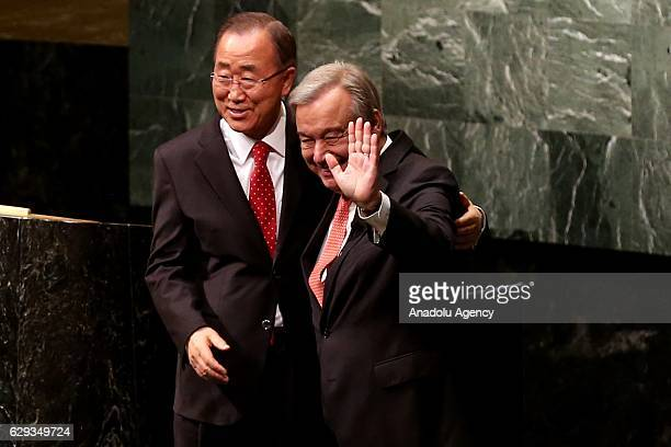 António Manuel de Oliveira Guterres embraces with former US Secretary General Ban KiMoon after he took his oath swearing as 9th Secretary General of...