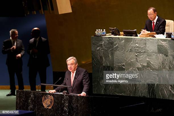 António Manuel de Oliveira Guterres gives his first speech after he took his oath swearing as 9th Secretary General of the United Nations in UN...