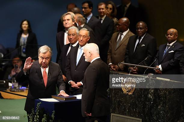 António Manuel de Oliveira Guterres take his oath swearing as 9th Secretary General of the United Nations in UN Headquarter in Manhattan New York USA...