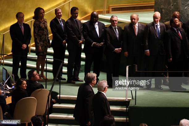 António Manuel de Oliveira Guterres walks to UN podium to take his oath swearing as 9th Secretary General of the United Nations in UN Headquarter in...