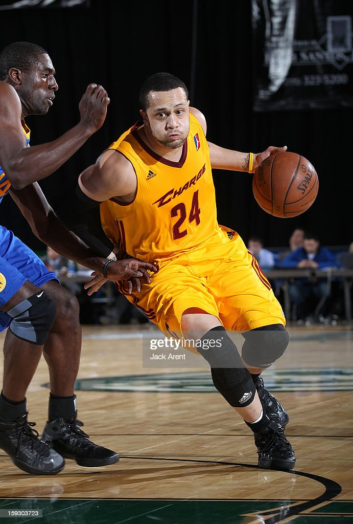 Antoine Agudio #24 of the Canton Charge dribbles the ball against the Santa Cruz Warriors during the 2013 NBA D-League Showcase on January 10, 2013 at the Reno Events Center in Reno, Nevada.
