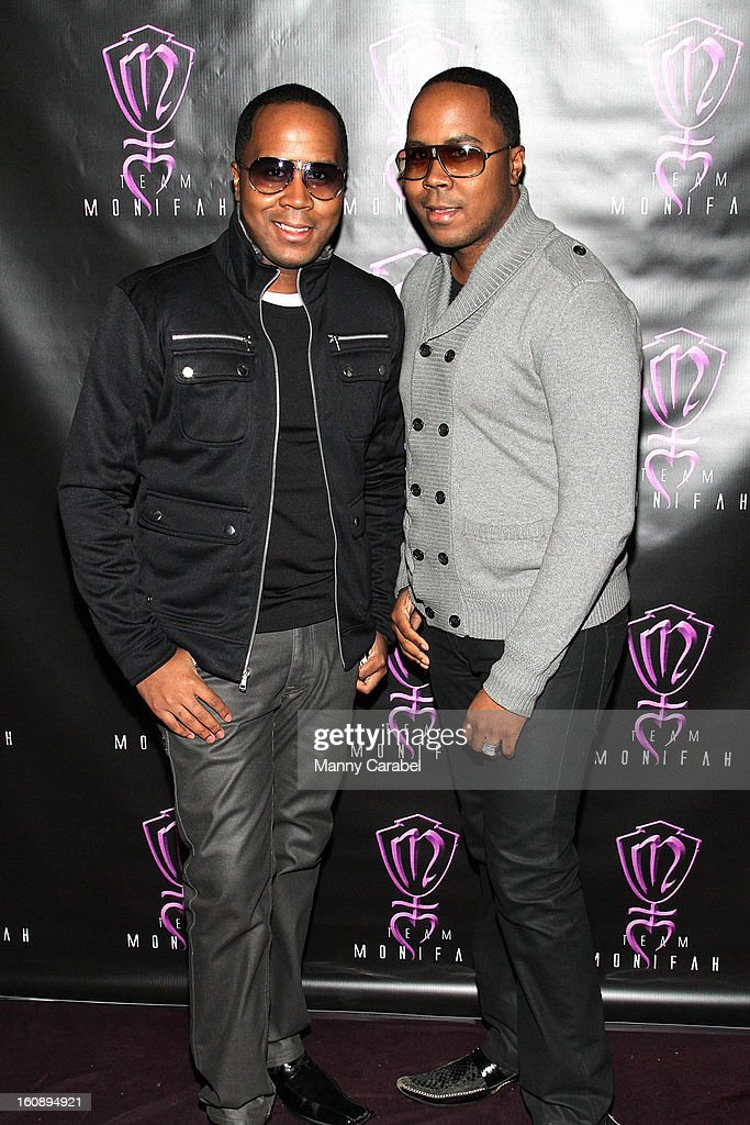 Antoine & Andre, Von Boozier Twins PR attend Monifah's 'In Her Skin' Showcase at Katra Lounge on February 6, 2013 in New York City.