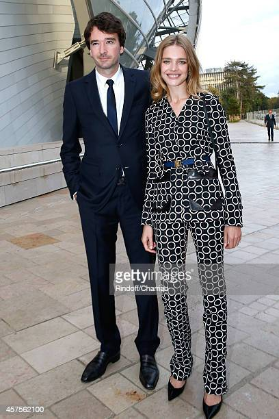 Antoine Arnault and Natalia Vodianova attend the Foundation Louis Vuitton Opening at Foundation Louis Vuitton on October 20 2014 in...