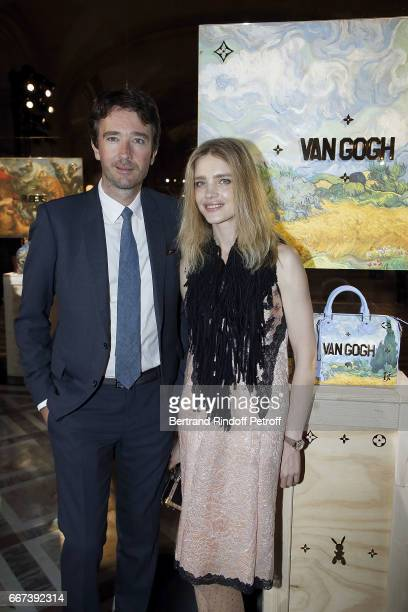 Antoine Arnault and Natalia Vodianova attend the 'LVxKOONS' exhibition at Musee du Louvre on April 11 2017 in Paris France