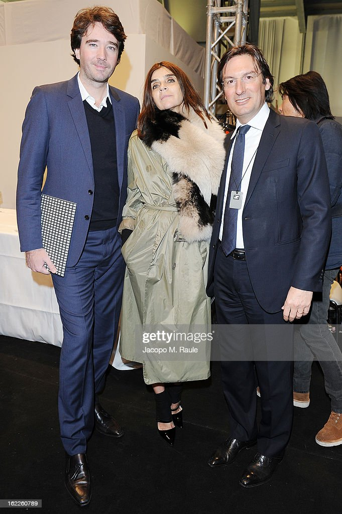 Antoine Arnault, Carine Roitfeld and Pietro Beccari attend the Fendi fashion show as part of Milan Fashion Week Womenswear Fall/Winter 2013/14 on February 21, 2013 in Milan, Italy.