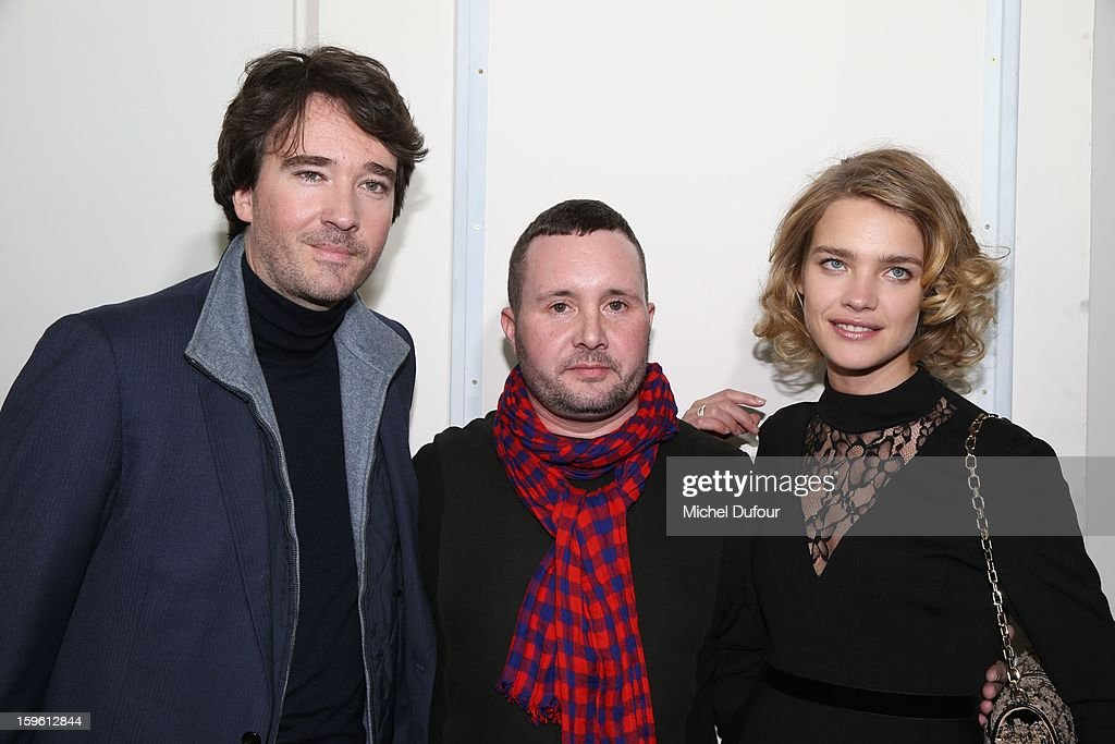 Antoine Arnault, designer Kim Jones and Natalia Vodianova attend the Louis Vuitton Men Autumn / Winter 2013 show as part of Paris Fashion Week on January 17, 2013 in Paris, France.