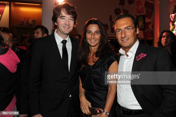 Antoine Arnault Elisabetta Beccari and Pietro Beccari attend LOUIS VUITTON Tribute to STEPHEN SPROUSE VIP Cocktail Party at Louis Vuitton on January...