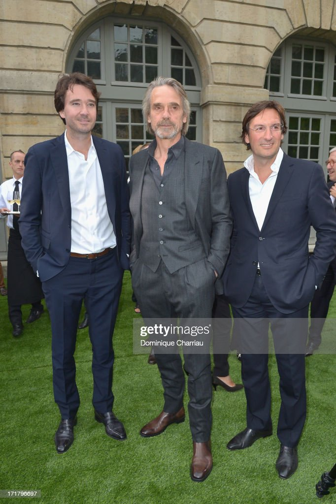 Antoine Arnault Jeremy Irons and Pietro Beccari CEO of Berluti attend the Berluti Menswear Spring/Summer 2014 show as part of the Paris Fashion Week...