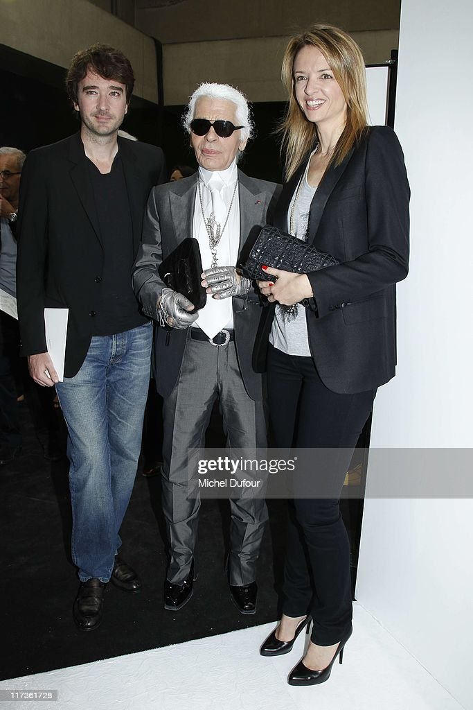 Antoine Arnault, Karl Lagerfeld and Delphine Arnault attend the Dior Homme Menswear Spring/Summer 2012 show as part of Paris Fashion Week at on June 25, 2011 in Paris, France.