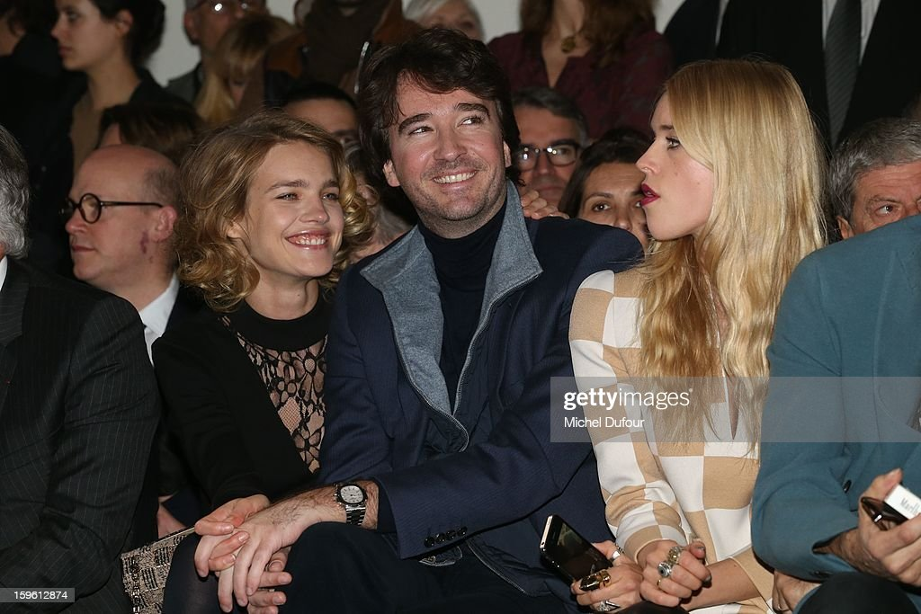 Antoine Arnault, Natalia Vodianova and Mary Charteris attend the Louis Vuitton Men Autumn / Winter 2013 show as part of Paris Fashion Week on January 17, 2013 in Paris, France.