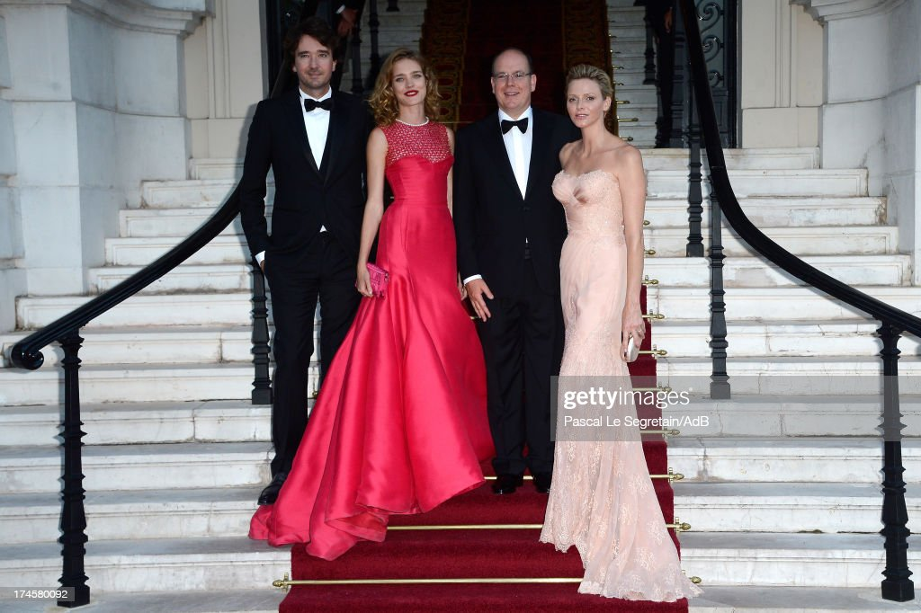Antoine Arnault, Natalia Vodianova, Prince Albert II of Monaco and Princess Charlene of Monaco arrive at 'Love Ball' hosted by Natalia Vodianova in support of The Naked Heart Foundation at Opera Garnier on July 27, 2013 in Monaco, Monaco.